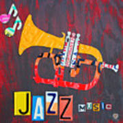 License Plate Art Jazz Series Number One Trumpet Poster by Design Turnpike