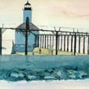 Lighthouse In Michigan City Poster by Lynn Babineau