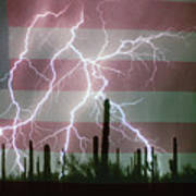 Lightning Storm In The Usa Desert Flag Background Poster by James BO  Insogna