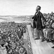 Lincoln Delivering The Gettysburg Address Poster by War Is Hell Store