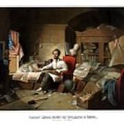 Lincoln Writing The Emancipation Proclamation Poster by War Is Hell Store