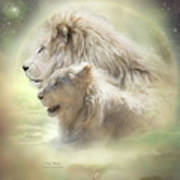 Lion Moon Poster by Carol Cavalaris