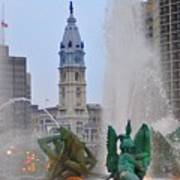 Logan Circle Fountain With City Hall In Backround 2 Poster by Bill Cannon