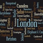 London Text Map Poster by Michael Tompsett