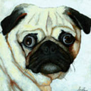 Love At First Sight - Pug Poster by Linda Apple