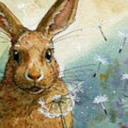 Lovely Rabbits - With Dandelions Poster by Svetlana Ledneva-Schukina