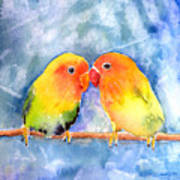 Lovey Dovey Lovebirds Poster by Arline Wagner