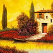 Lungo Il Fiume Tra I Papaveri Poster by Guido Borelli