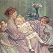 Madame Van De Velde And Her Children Poster by Theo van Rysselberghe