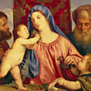 Madonna Of The Cherries With Joseph Poster by Titian