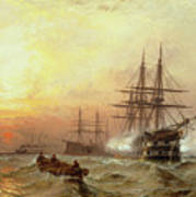 Man-o-war Firing A Salute At Sunset Poster by Claude T Stanfield Moore