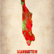 Manhattan Watercolor Map Poster by Naxart Studio