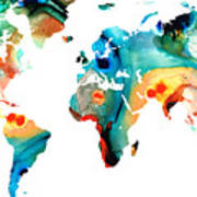 Map Of The World 11 -colorful Abstract Art Poster by Sharon Cummings