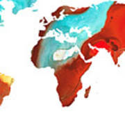 Map Of The World 4 -colorful Abstract Art Poster by Sharon Cummings