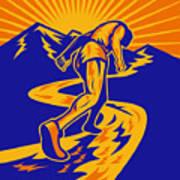 Marathon Runner Or Jogger On Mountain Road  Poster by Aloysius Patrimonio