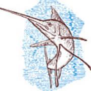 Marlin Woodcut Poster by Aloysius Patrimonio