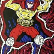 Masked Wrestler Collaboration Poster by Suzanne  Marie Leclair