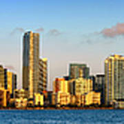 Miami Skyline In Morning Daytime Panorama Poster by Jon Holiday