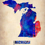 Michigan Watercolor Map Poster by Naxart Studio