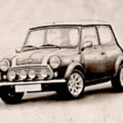 Mini Cooper Sketch Poster by Michael Tompsett