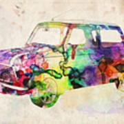 Mini Cooper Urban Art Poster by Michael Tompsett