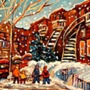 Montreal Street In Winter Poster by Carole Spandau