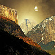 Moon Over Half Dome Poster by Wingsdomain Art and Photography