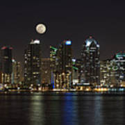 Moonrise Over San Diego Poster by Sandra Bronstein