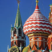 Moscow, Spasskaya Tower And St. Basil Cathedral Poster by Vladimir Zakharov