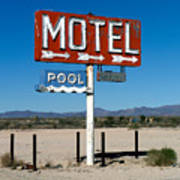 Motel Sign On I-40 And Old Route 66 Poster by Scott Sawyer