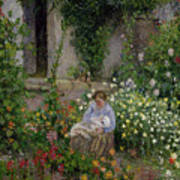 Mother And Child In The Flowers Poster by Camille Pissarro