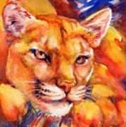 Mountain Lion Red-yellow-blue Poster by Summer Celeste