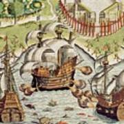 Naval Battle Between The Portuguese And French In The Seas Off The Potiguaran Territories Poster by Theodore de Bry