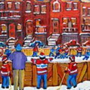 Neighborhood  Hockey Rink Poster by Carole Spandau