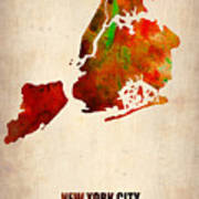 New York City Watercolor Map 2 Poster by Naxart Studio