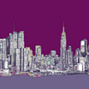 New York In Purple Poster by Lee-Ann Adendorff