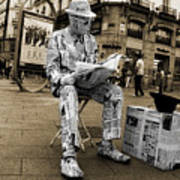 Newspaper Man Poster by Rob Hawkins