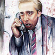 Nicolas Cage A Vampire's Kiss Watercolor Art Poster by Olga Shvartsur