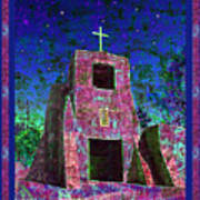 Night Magic San Miguel Mission Poster by Kurt Van Wagner