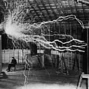 Nikola Tesla 1856-1943 Created A Double Poster by Everett