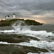 Nubble Light In A Storm Poster by Rick Frost