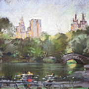 Nyc Resting In Central Park Poster by Ylli Haruni