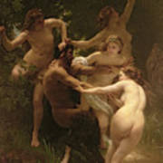 Nymphs And Satyr Poster by William Adolphe Bouguereau