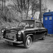 Old British Police Car And Tardis Poster by Yhun Suarez