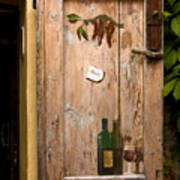 Old Door And Wine Poster by Sally Weigand