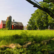 Old New England Farm Poster by Elzire S