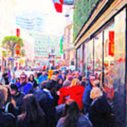 On The Day Before Christmas . Stockton Street San Francisco . Photo Artwork Poster by Wingsdomain Art and Photography