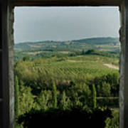 Open Window Looking Out On The Tuscan Poster by Todd Gipstein