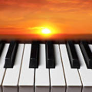 Piano Sunset Poster by Garry Gay