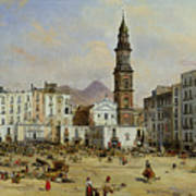 Piazza Mazaniello In Naples Poster by Jean Auguste Bard